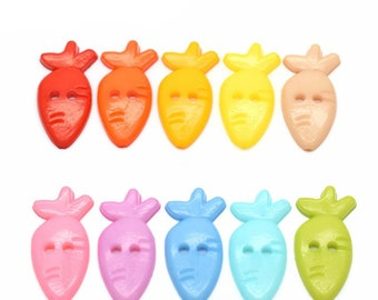 CLEARANCE Pack of 40 Assorted Colours Carrot Radish  Buttons 12mm x 25mm Children Clothing