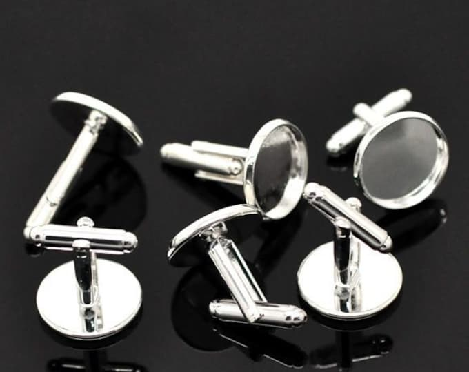 One pair of Flat Silver Plated BLANK Cufflinks for 16mm Cabochon & Gem