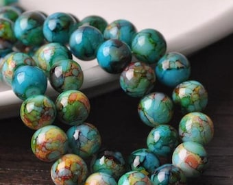 Pack of 14 Round Mottled Glass Beads. 10mm Assorted Multicoloured Ball Spacers