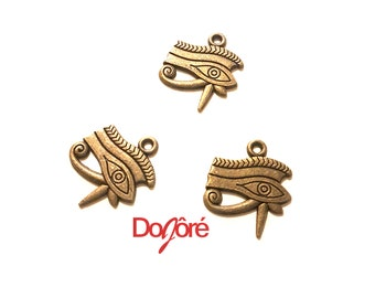 Pack of 20 Bronze Colour Eye of Horus Charms. Egyptian Pendants. Wadjet Protection. 18mm x 18mm