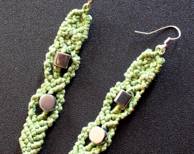 Handmade Green Waxed Cord and Silver Beads Macrame Drop Earrings
