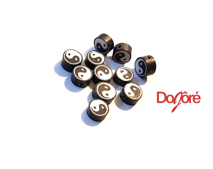 Pack of 10 Round and Flat Black and White Yin and Yang Beads. 10mm Diameter Chinese Symbol.