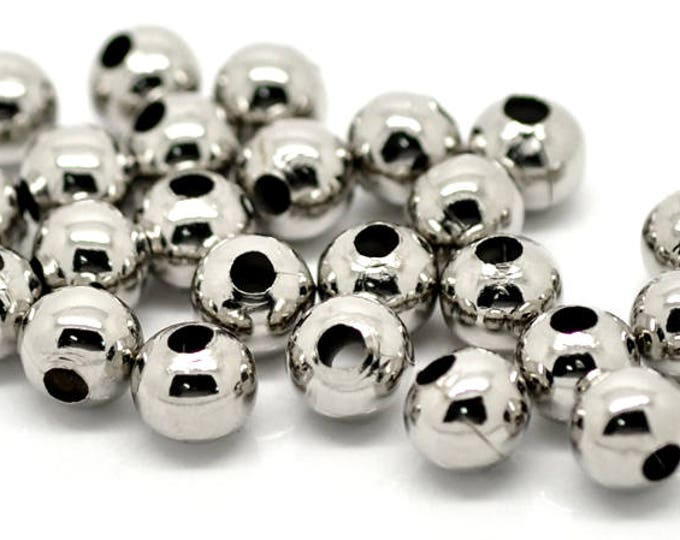 Pack of 100 Round Silver Metal Beads. 8mm Spacer Charms