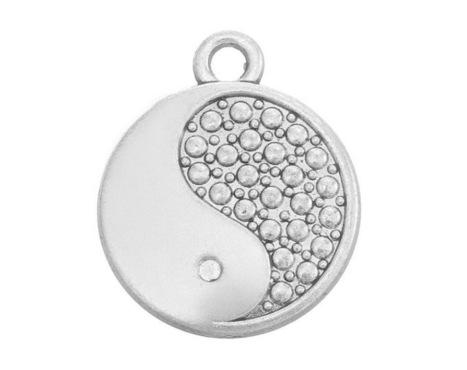 Pack of 20 Silver Coloured Yin Yang Charms. 15mm Chinese Symbol Zen Pendants