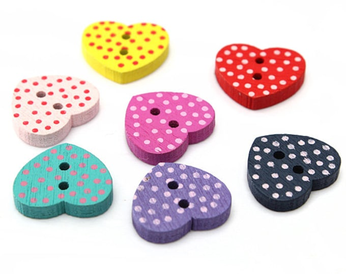 Pack of 50 Assorted Colours Wood Polka Dot Heart Buttons. 11mm x 12mm