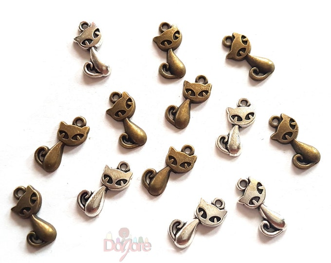 Pack of 50 Cat Charms. Different Colours. Animal Pendants. 16mm x 8mm Tags