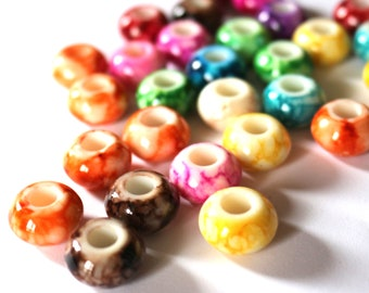 Pack of 50 Assorted Speckled European Stripe Beads. 15mm x 9mm Round Acrylic Spacers