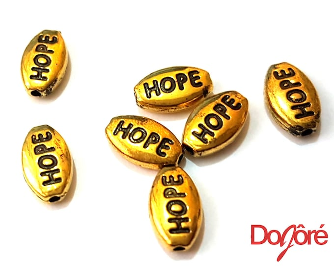 Pack of 20 Mini Gold or Silver Coloured HOPE Metal Spacer Beads. Inspiration Motivation Charms. 6mm x 10mm