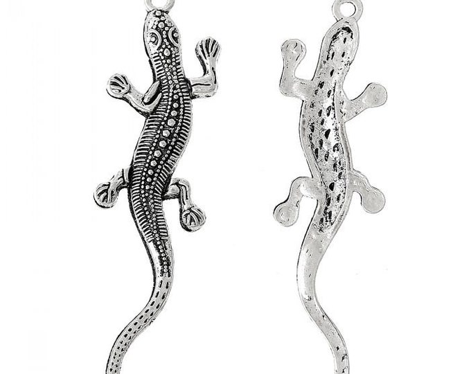 Pack of 20 Silver Coloured Metal Lizard Charms. Nature Animal Reptile Snake Pendants. 55mm x 15mm