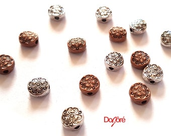 Pack of 100 Flat Round Metal Beads. 7mm Love Heart Pattern Spacers. Bronze or Silver Colour