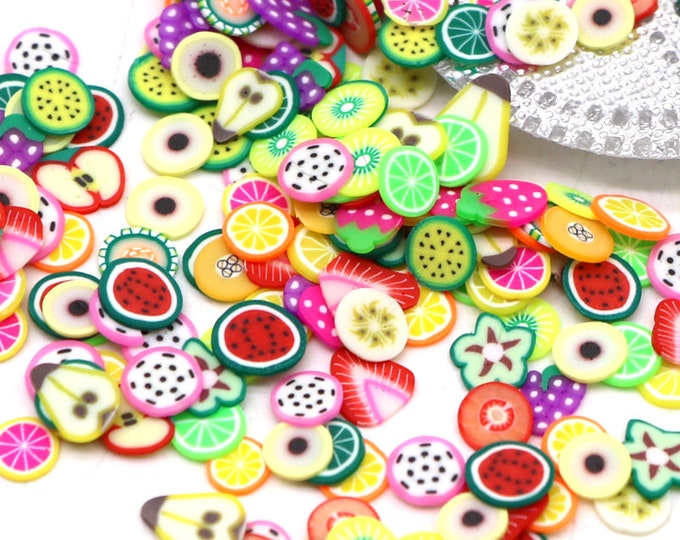 Pack of 1000 Assorted Colours and Design Nail Art Polymer Clay Mini Fruit Slices