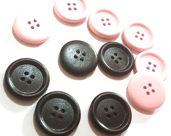CLEARANCE Pack of 20 Round Wood Big Buttons. Different Colours. 25mm Wooden Dress Maker Fasteners