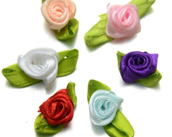 Pack of 50 Assorted Colours Ribbon Flowers. 13mm Fabric Rose Appliques for Xmas Crafts