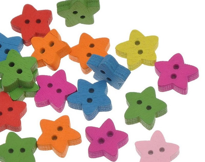 Pack of 100 Assorted Colours Xmas Wood Star Buttons. 13mm Plain Design Christmas Wooden Children's Buttons