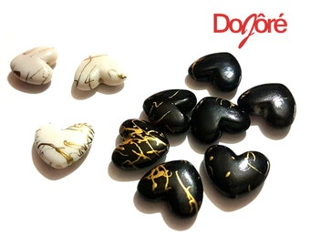 Pack of 50 Gold Design Acrylic Heart Beads for Valentine's Day Craft. Different Colours Available