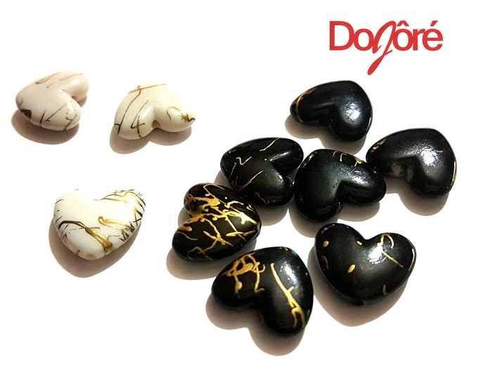 Pack of 40 Gold Design Acrylic Heart Beads for Valentine's Day Craft. Different Colours Available