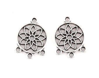 Pack of 50 Round Silver Colour Dreamcatcher Connector Charms. Dream Catcher Pendants. 18mm x 12mm.
