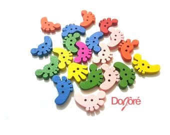 CLEARANCE Pack of 50 Assorted Colours Wood Feet Buttons. Wooden Foot Shape Children Fasteners