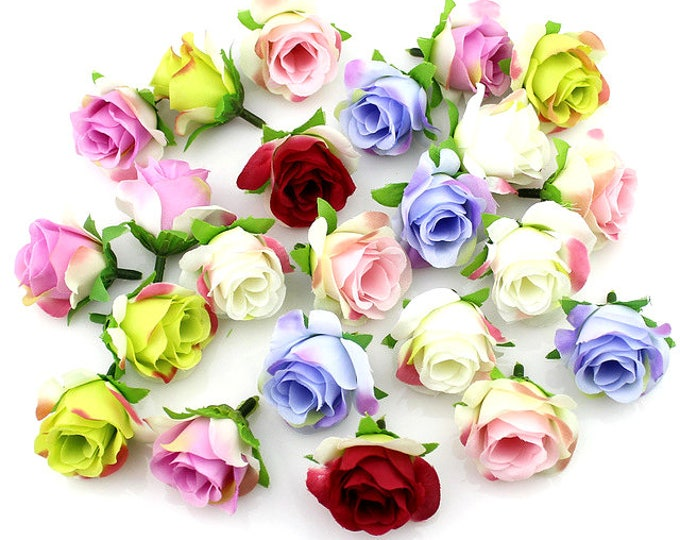 Pack of 20 Artificial Rose Heads.  Different Colours. 3cm Wedding Flowers.