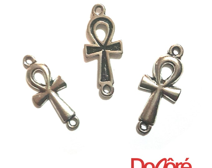 Pack of 20 Silver Coloured Ankh Connector Charms. 30mm x 12mm Metal Cross Pendants
