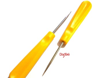 Yellow Plastic Handle Awl. Leather Hole Punch. Beading, Carving and Stitch Repair Tool Awl For Leather