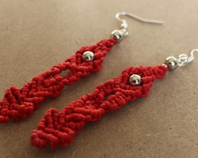 Handmade Red Waxed Cord and Silver Beads Macrame Drop Earrings