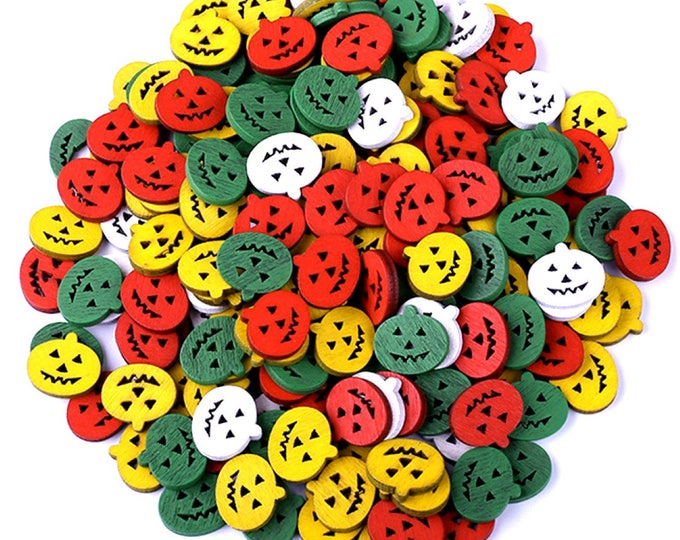 Pack of 100 Mini Assorted Colours Wooden Pumpkins. 15mm Halloween Buttons