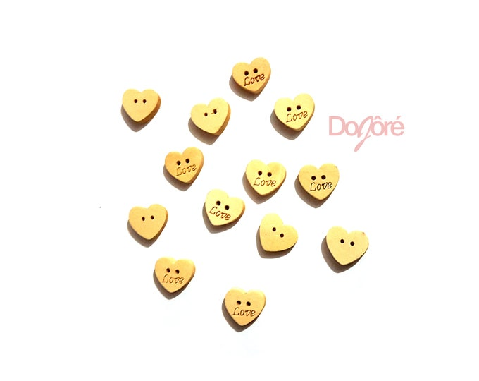 Pack of 100 LOVE Wooden Heart Buttons. 11mm Unpainted Plain Design Fasteners.
