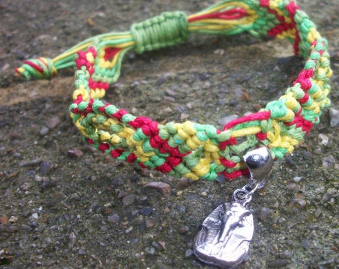 Handmade Extendable Rasta Macrame Plaited Waxed Cord Bracelet With Tibetan Silver Pharaoh Charm