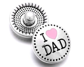CLEARANCE Pack of 10 I Love Dad Round Silver Tone Metal Snap Buttons. Perfect Gift for Father's Day