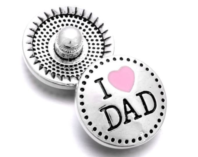 CLEARANCE Pair of I Love Dad Round Silver Tone Metal Snap Buttons. Perfect Gift for Father's Day