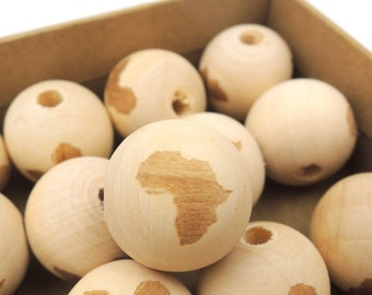 Pack of 15 Round Africa Wooden Beads 20mm Natural Wood Spacers
