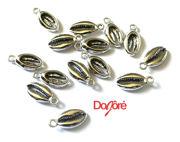 Pack of 20 Silver Colour Cowrie Shell Charms. Pendants for Hair & Jewellery Making. 14mm x 8mm