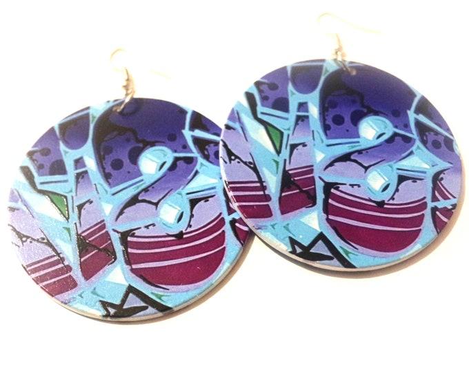 Tiger Blue Street Art Graffiti Wood Earrings. Original Design On Both Sides. 6cm Diameter. Wooden Jewellery. Rebel Jewel