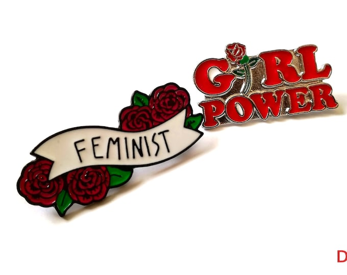 Pack of 2 Girl Power & Feminist Brooch. Female Empowerment Metal Pins