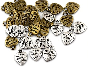 Pack of 50 Made With Love Tags. Different Colours Heart Charms 9mm x 12mm Jewellery Pendants