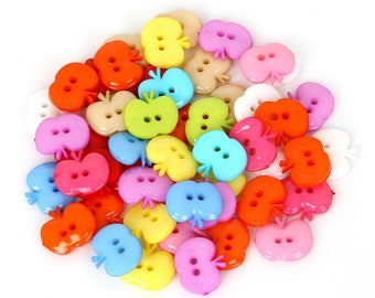 Pack of 50 Assorted Colours Acrylic Apple Buttons. Children's Plastic Coat Fasteners. 12mm x 14mm.