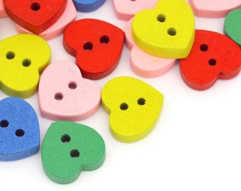 Pack of 100 Assorted Mix Wooden Heart Buttons. 11mm x 12mm