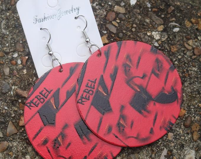 Red Rebel Street Art Graffiti Wood Earrings. Original Design On Both Sides. 6cm Diameter. Wooden Jewellery. Rebel Jewel