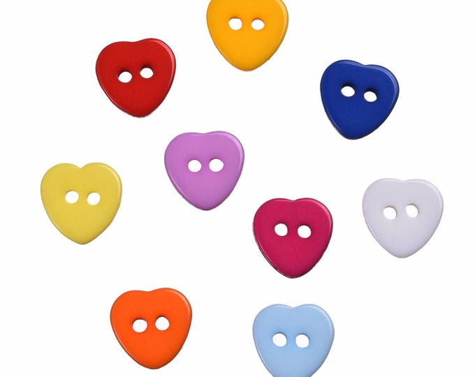 Pack of 200 Assorted Colours Acrylic Love Heart Buttons. Plastic Clothing Fasteners