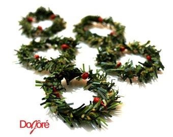 Pack of 10 MINI Xmas Wreaths. Christmas Doll House Decor
