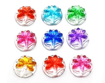 Pack of 50 Round Assorted Colours Coconut Tree Flatback Cabochons. 11mm Rhinestone Dome.