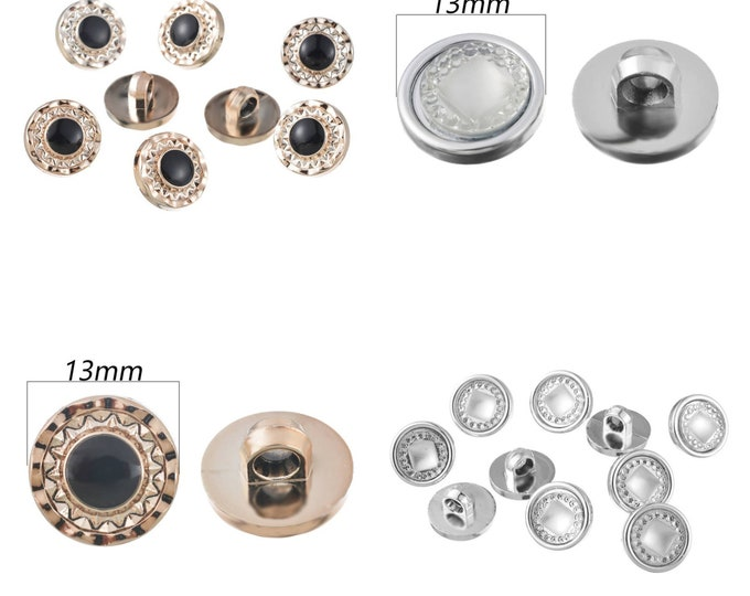 Pack of 50 Mini Shank Buttons. 13mm Round Upholstery and Clothing Fasteners. Gold or Silver