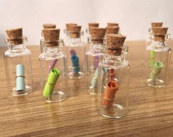 Pack of 20 Tiny Transparent Glass Bottles & Cork Stopper. 0.5ml Clear Vials.