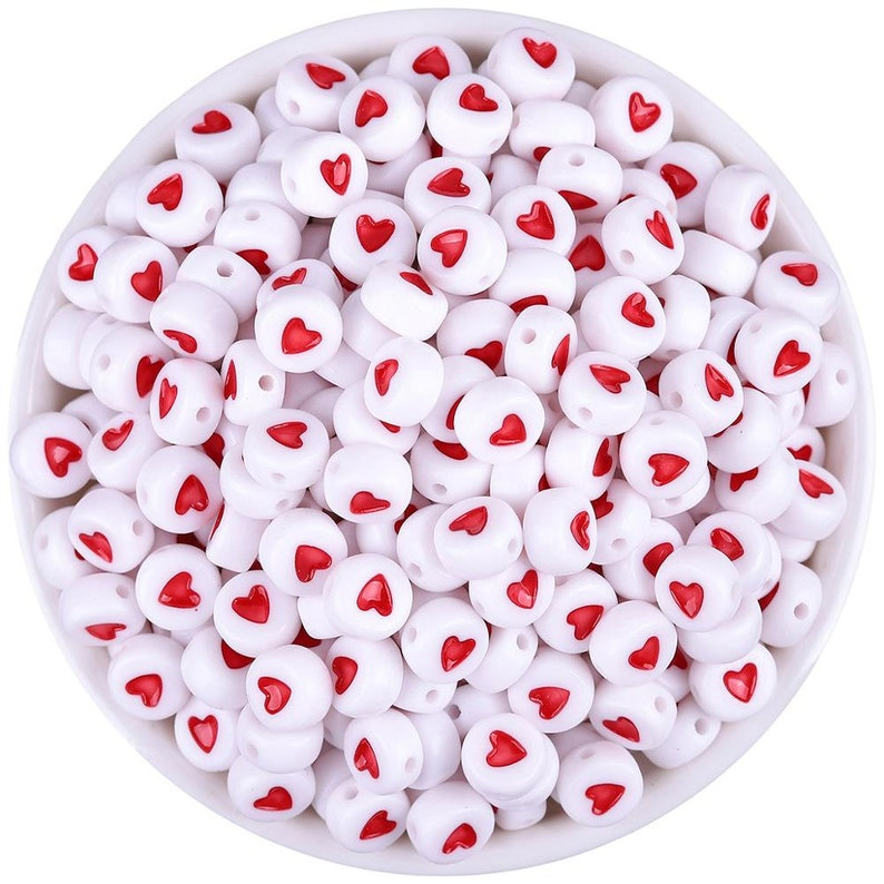 Pack of 500 Red & White Round Acrylic Heart Beads. 7mm x 3mm image 0