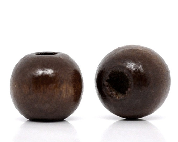 Pack of 200 Brown Round Wood Beads. 8mm x 6mm Natural Wooden Spacers