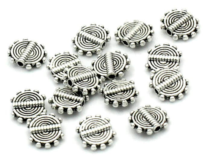 Pack of 100 Flat and Round Silver Metal Spacer Beads. 10mm x 8mm Charms