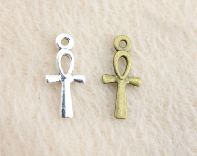 Pack of 50 Mini Ankh Charms. Different Colours. Egyptian Cross Pendants. Key of Life Crux Ansata.