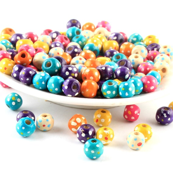 UK SELLER 9 x 7mm 100 x SPOTTY WOODEN SPACER BEADS SAME DAY *FREE*  POST