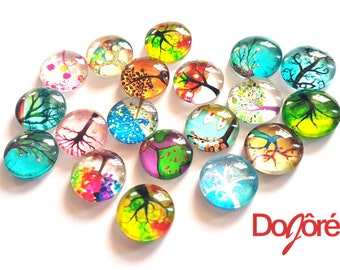 Pack of 50 Round Assorted Colours Tree Flatback Cabochons. Glass Dome Rhinestones. 12mm x 4mm